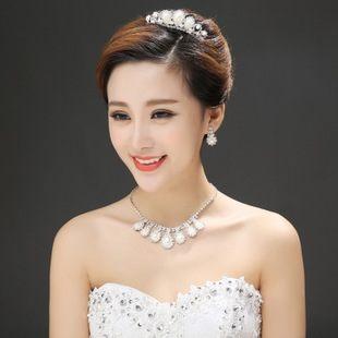 新娘飾品水滴珍珠皇冠首飾三件套裝【美麗間】
