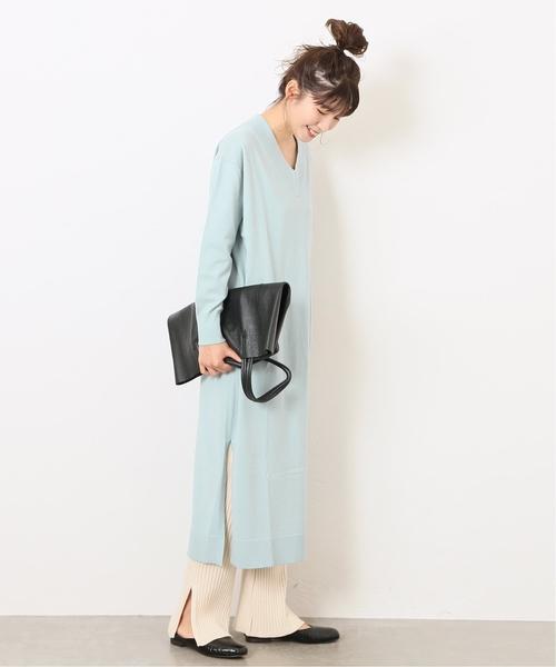 淡藍綠色側邊開叉V領針織連身裙