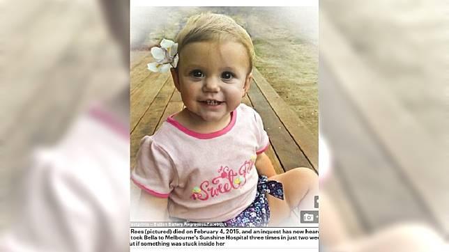 誤吞電池的女嬰伊莎貝拉。圖/翻攝自《每日郵報》