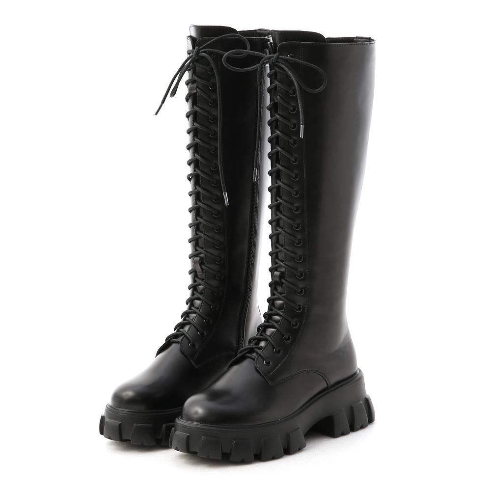 D+AF 霸氣魅力.鋸齒底綁帶馬汀長靴