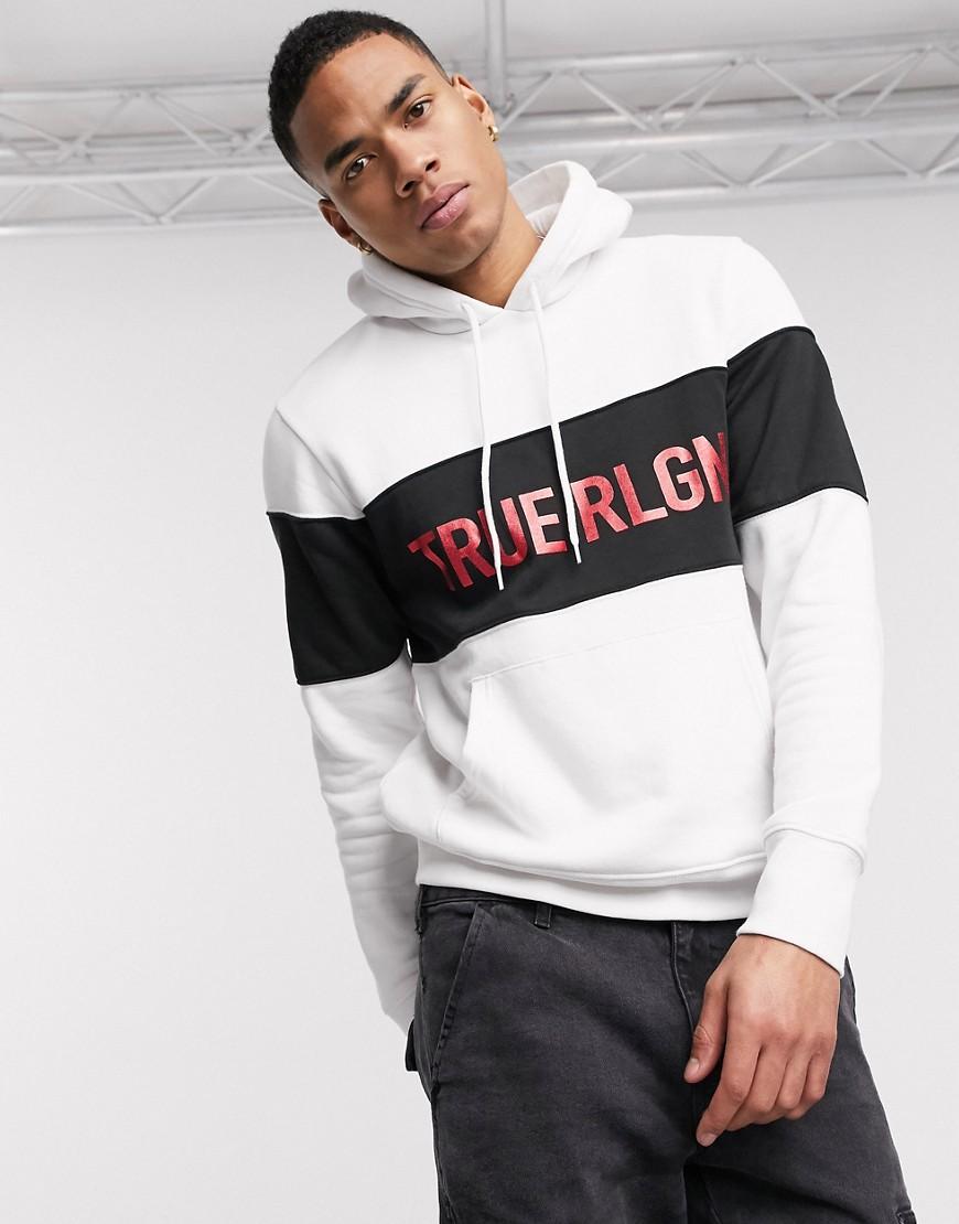 Hoodie by True Religion The original cosy layer Colour-block design Drawstring hood Logo chest print