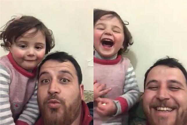 ▲敘利亞一名父親阿布杜拉·莫哈默德( Abdullah Mohammad )為了安撫小女兒,相約一起在空襲時開懷大笑。(合成圖/翻攝推特)