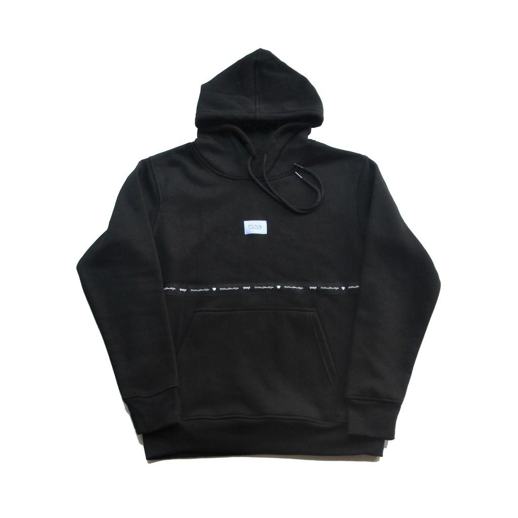 PUNX 20AW SPLICE HOODIE / BLACK #2 - 全面料90%棉10%滌綸/480G碼重/內裏刷毛- 面料防縮水防毛球處理- 前不織布品牌織標拼接- 後方品牌印刷- 附不織布防