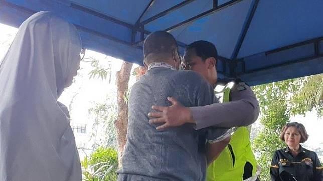 Bripda Eka menerima Tavipudin, pria yang menyeretnya hingga nemplok di kap Honda Mobilio