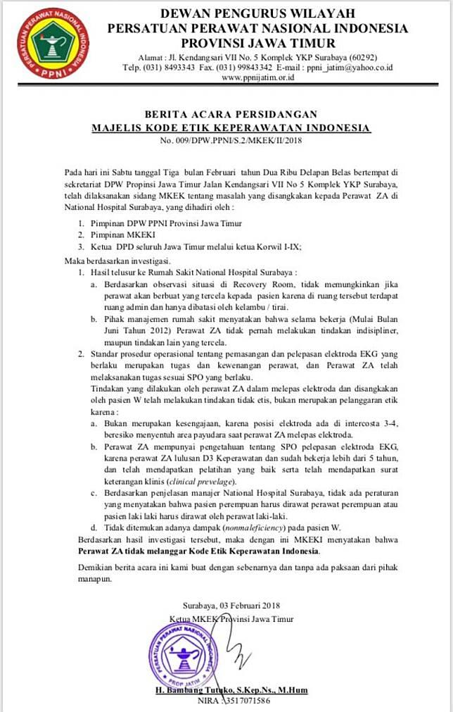 Surat persidangan majelis kode etik keperawatan (Foto: Dok. PPNI Jatim)