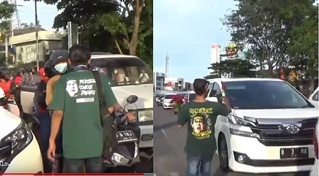 Bonek sweeping kendaraan Plat N di Surabaya