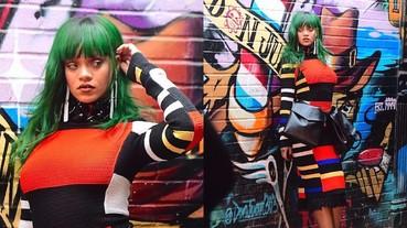 蕾哈娜一頭綠髮拍攝時尚寫真 驚見她掛「霹靂腰包」颳起時尚旋風?