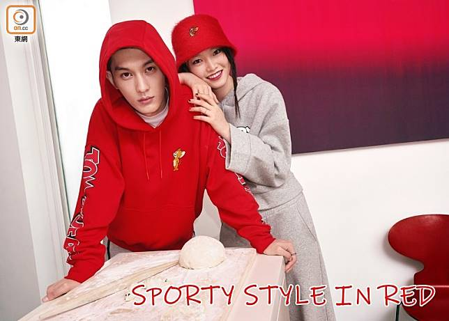 H&M以應節的紅色和舒適剪裁打造悠閒的運動風格,系列的印花圖案以鼠年為主題推出多款青春單品。(互聯網)