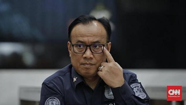 Kepala Biro Penerangan Masyarakat Divisi Humas Polri Brigadir Jenderal Polisi Dedi Prasetyo menyatakan tersangka pelaku karhutla mencapai 185 orang dan 4 korporasi. (CNN Indonesia/Adhi Wicaksono)