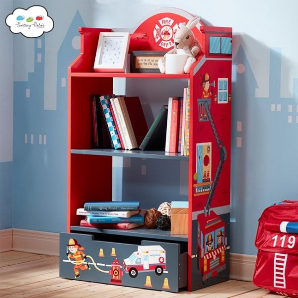 兒童書架玩具收納架子消防員主題兒童房收納櫃寶寶書架RM