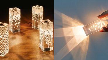 日本超浪漫「透明光影手電筒」!蠟燭模式、唯美花紋⋯停電時的生活情趣就靠它了