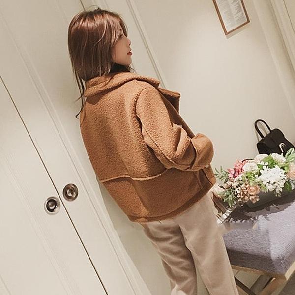 羊羔毛衣外套女冬季秋裝新品正韓學生加厚棒球服短版矮個子夾克飛行服外套