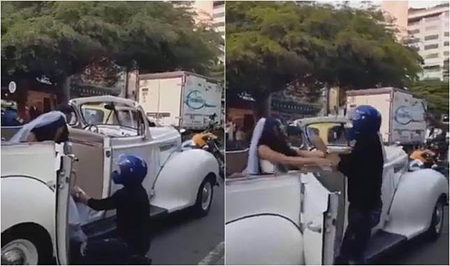 Seorang pria hentikan mobil mantan kekasihnya yang hendak menikah.