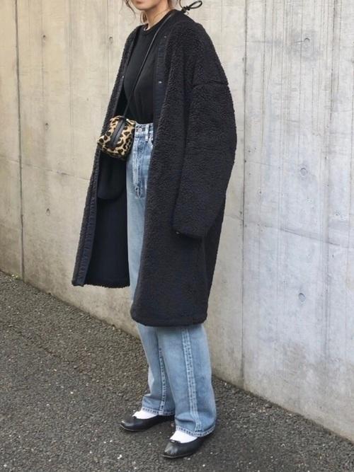 UNIQLO 黑色無領長版毛絨外套