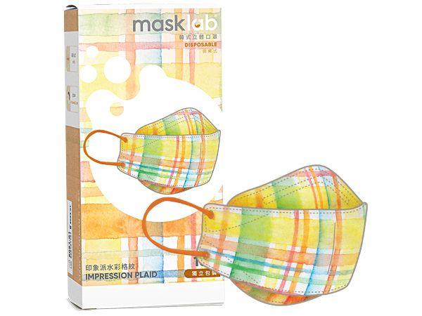 masklab~成人KF韓式立體口罩(盒裝10入) 印象派水彩格紋【DS002148】