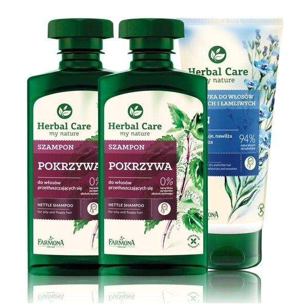 Herbal care 波蘭植萃-草本調理油脂豐盈3入組 (洗髮露/護髮素)