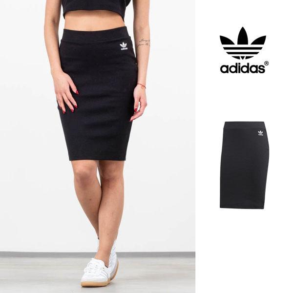 【GT】Adidas Originals 黑 短裙 女款 運動 休閒 彈性 針織 裙子 窄裙 及膝裙 愛迪達 三葉草 DW3903