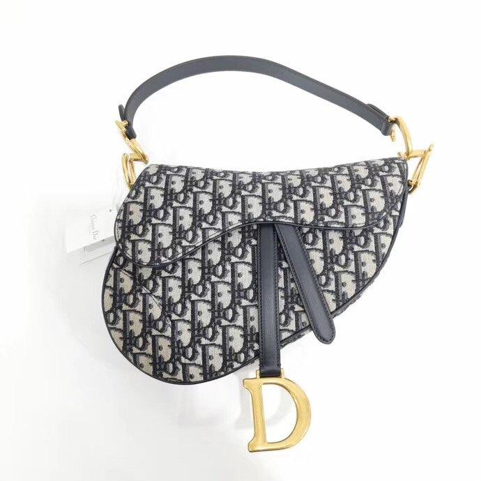 【Go時尚】Dior Oblique Saddle 復古老花款 迪奧 馬鞍包 藍色 中款