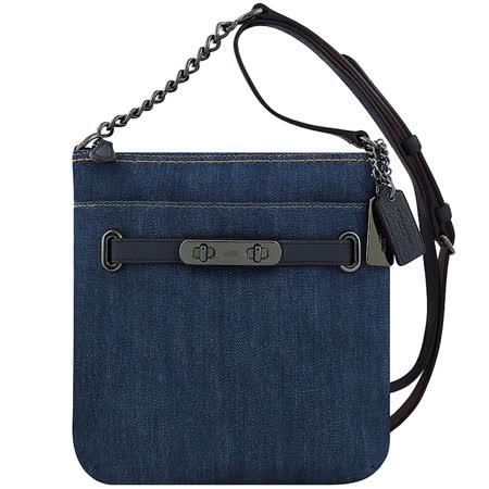 單寧織紋布搭配荔枝紋皮革設計正面以一皮帶造型釦環妝點背帶可調整,可肩背或斜背使用