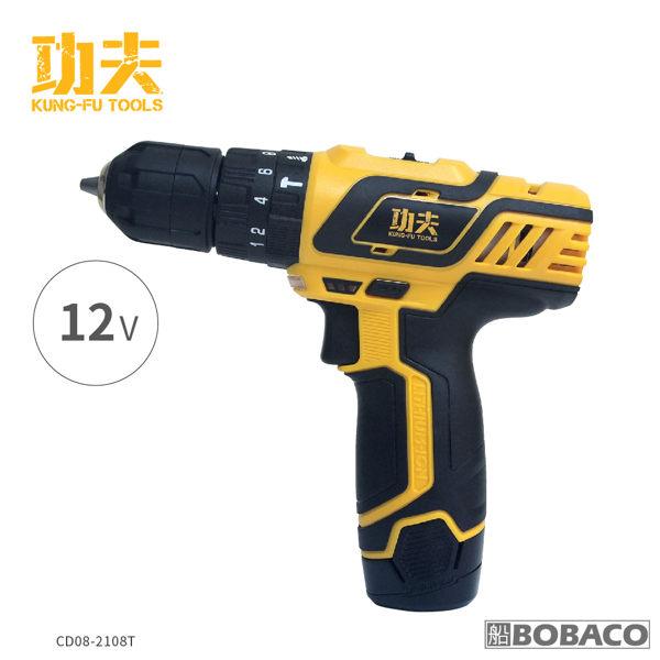 【功夫12V夾頭充電鋰電電鑽】(電池x2) 電動起子 螺絲 工具機 電鑽 衝擊鑽 (CD08-2108T)