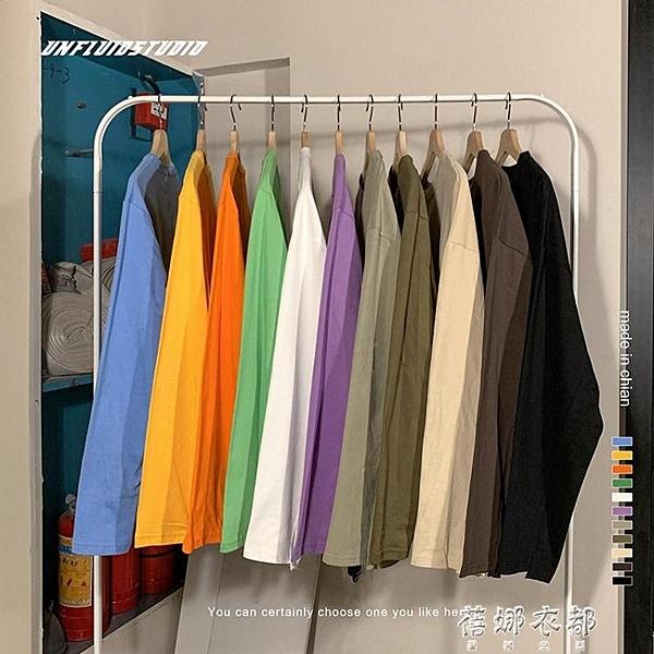 長袖T恤秋冬季純色圓領長袖T恤韓版寬鬆潮流百搭情侶外套潮 蓓娜衣都