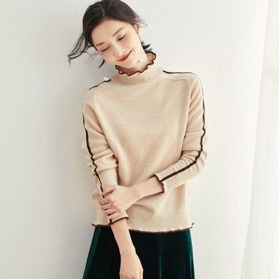 羊毛衫高領毛衣-撞色捲邊套頭保暖女針織衫3色73uj8【獨家進口】【米蘭精品】