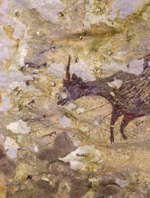 งานศิลปะที่พบบนผนังถ้ำ ได้รับการยืนยันแล้วว่า มีอายุอย่างน้อย 43,900 ปีในช่วงยุคหินเก่าปลาย RATNO SARDI / GRIFFITH UNIVERSITY / AFP