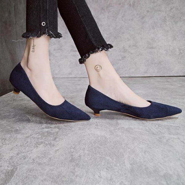 低跟單鞋女19新款尖頭高跟鞋女細跟3cm小跟鞋淺口百搭職業工作鞋 喵小姐