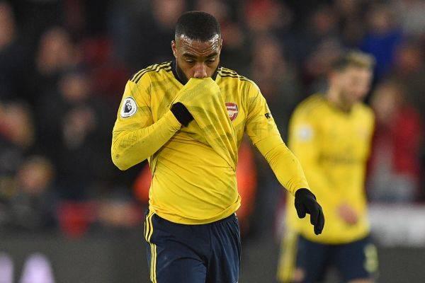 Penyerang Arsenal Alexandre Lacazette bereaksi usai laga melawan Sheffield United yang berakhir 0-1 untuk kekalahan the Gunners.