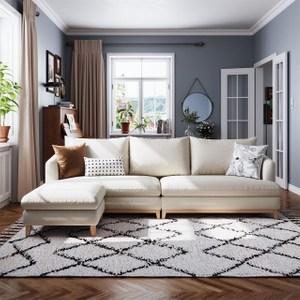 林氏木業北歐日式羽絨棉麻四人布沙發+腳凳 RAM3K-荷花白