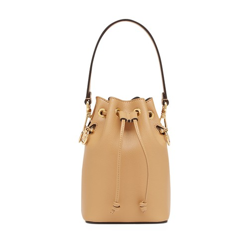 Small Mon Tresor bucket bag with drawstring fastening and metal decorations in the Fendi logo shape. Two detachable shoulder straps, one long and one short, to wear the bag over the shoulder or cross-body. Made of white calfskin. Gold-finish metalware. Made in Italy