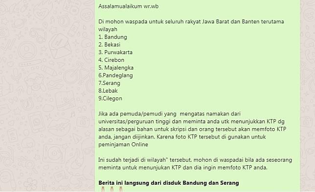 Pesan Hoaks Disdukcapil Bandung Viral Di Whatsapp