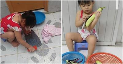 Biết thân biết phận, mẹ bệnh bé gái 5t lăn xả làm hết việc nhà, có con gái thật phúc 3 đời