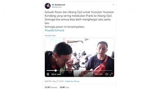 Pesan driver ojek online kepada Youtuber yang buat prank (Twitter/@radenrauf)