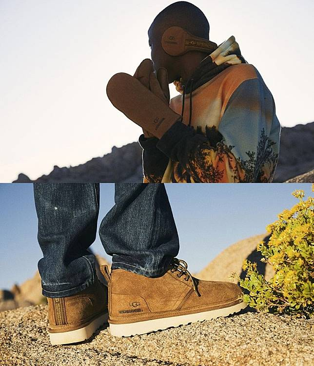 NEIGHBORHOOD x UGG®聯名系列,推出了Neumel Boots、Tasman Slipper、Mittens Glove、Earmuff及印上沙漠景致的服飾。(互聯網)