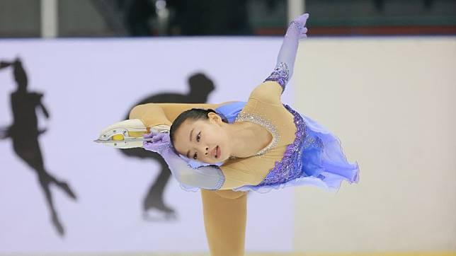 ▲109年台北市青年盃滑冰錦標賽,14歲女將丁子涵在藝術滑冰菁英青年組6度封后。(圖/艾格斯運動攝影公司提供)