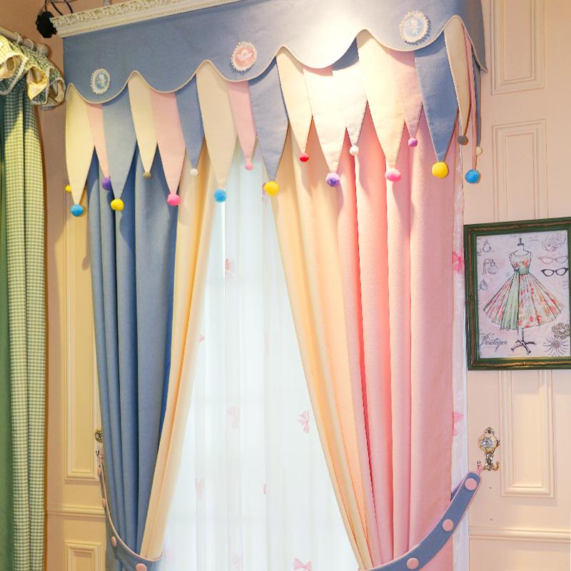 甜甜的粉色田園韓式溫馨公主風女孩臥室卡通遮光布料窗簾成品兒童