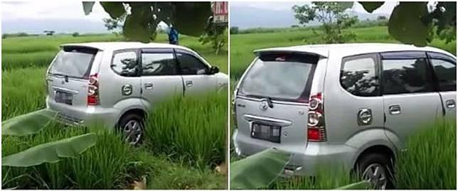 Viral mobil terjebak di tengah sawah tanpa jejak ban