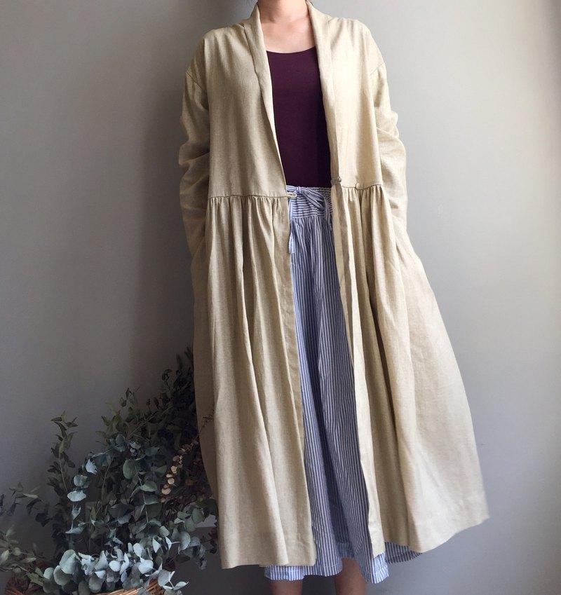 #Cream dream奶油色夢境⋯. 奶油色棉麻開襟長版罩衫 兩穿式外套(原價3980)