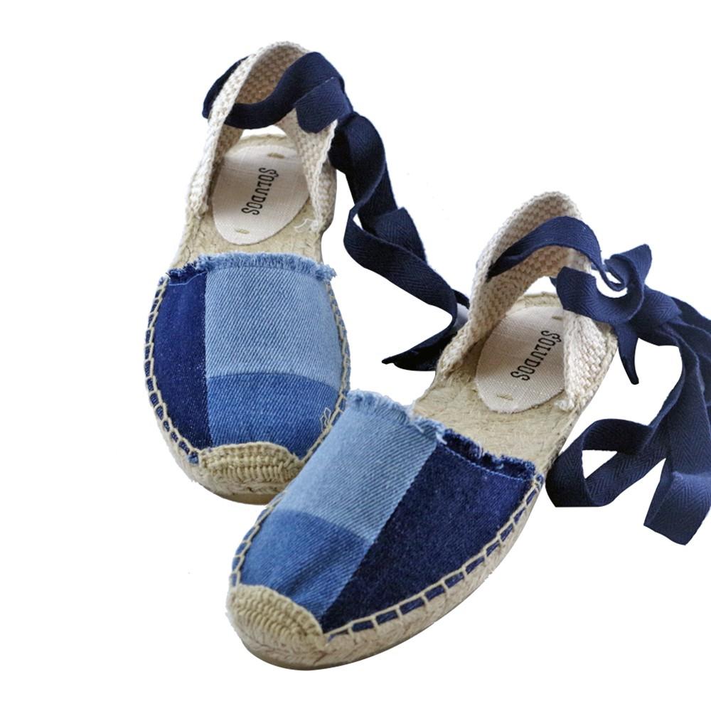 711Soludos 拼接牛仔藍綁帶草編涼鞋