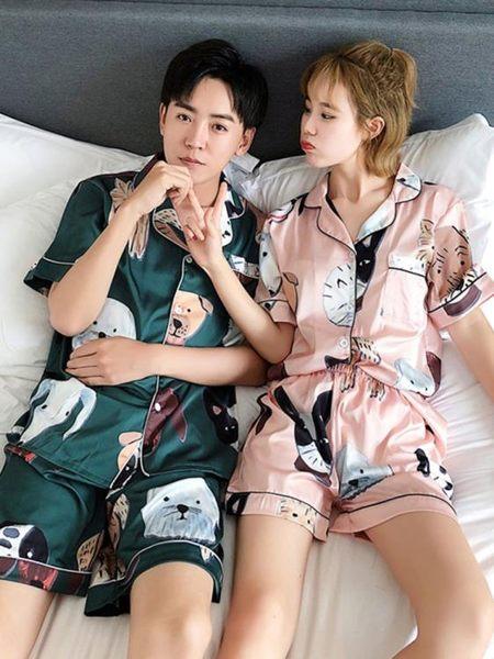 居家睡衣 情侶睡衣夏季冰絲短袖薄款韓版可愛夏天絲綢男士短褲家居服套裝女 美物居家館