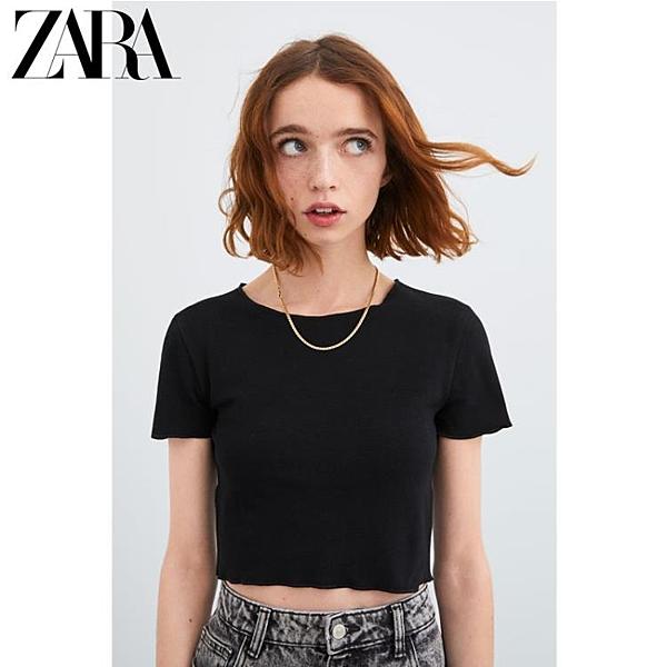 ZARA 新款 TRF 女裝 黑色短款寬松圓領短袖 T 恤 01660304800優品匯