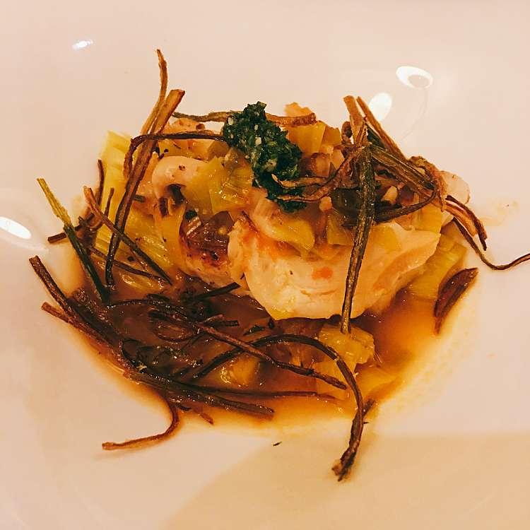 ユーザーが投稿した真鯛 つぶ貝 ポロ葱 トマトのスープ大葉添えの写真 - 実際訪問したユーザーが直接撮影して投稿した西新宿イタリアンピッツォランテ スパッカナポリの写真