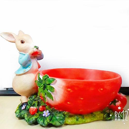 彼得兔水果盤收納籃置物籃盤子居家擺飾草莓073713 通販屋