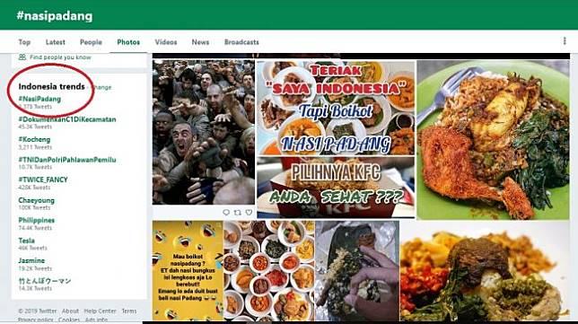 Topik nasi padang menguasai daftar trending topic Twitter Indonesia, Senin (22/4/2019). Nasi padang ramaii dibahas di Twitter menanggapi isu boikot makanan khas Sumatera Barat tersebut di media sosial. [Twitter]