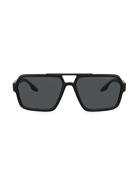 Bold frames in a rectangular silhouette that curves around the face, finished with logos on the lens