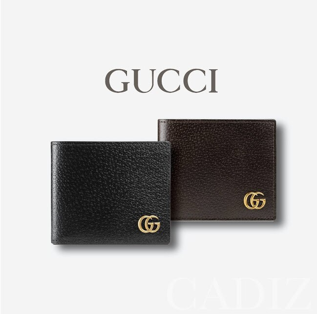 預購 義大利正品 GUCCI GG Marmont leather bi-fold wallet黑深棕色折疊皮夾 428726