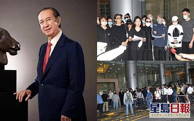何鴻燊四房共24名家屬,在下午2時許齊於養和醫院向傳媒交代賭王逝世。