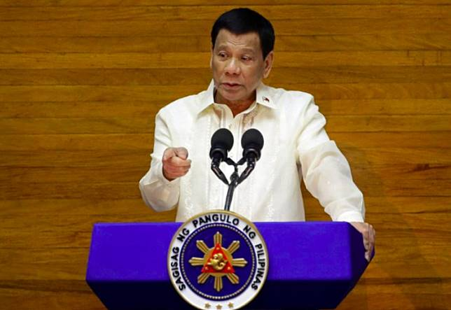 Philippine President Rodrigo Duterte delivers his State of the Nation address at the House of Representatives in Quezon city, Metro Manila, Philippines July 23, 2018.
