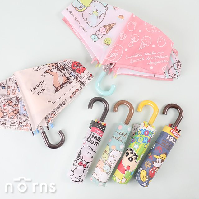 日貨彎把摺疊傘P2- Norns 輕量雨傘 日本迪士尼折傘Snoopy 角落小夥伴 蠟筆小新 奇奇蒂蒂
